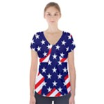 Patriotic Usa Stars Stripes Red Short Sleeve Front Detail Top