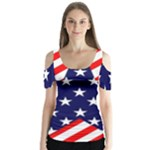 Patriotic Usa Stars Stripes Red Butterfly Sleeve Cutout Tee