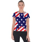 Patriotic Usa Stars Stripes Red Short Sleeve Sports Top