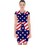 Patriotic Usa Stars Stripes Red Capsleeve Drawstring Dress