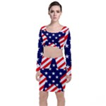 Patriotic Usa Stars Stripes Red Long Sleeve Crop Top & Bodycon Skirt Set