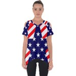 Patriotic Usa Stars Stripes Red Cut Out Side Drop Tee