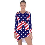 Patriotic Usa Stars Stripes Red Asymmetric Cut-Out Shift Dress