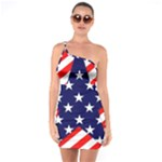 Patriotic Usa Stars Stripes Red One Soulder Bodycon Dress
