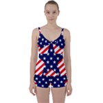 Patriotic Usa Stars Stripes Red Tie Front Two Piece Tankini