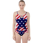 Patriotic Usa Stars Stripes Red Cut Out Top Tankini Set