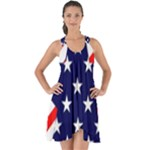 Patriotic Usa Stars Stripes Red Show Some Back Chiffon Dress