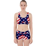 Patriotic Usa Stars Stripes Red Work It Out Sports Bra Set