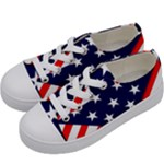 Patriotic Usa Stars Stripes Red Kids  Low Top Canvas Sneakers