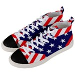 Patriotic Usa Stars Stripes Red Men s Mid-Top Canvas Sneakers