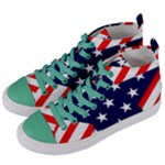 Patriotic Usa Stars Stripes Red Women s Mid-Top Canvas Sneakers