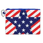 Patriotic Usa Stars Stripes Red Canvas Cosmetic Bag (XL)
