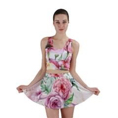 Flowers And Leaves In Soft Purple Colors Mini Skirt by FantasyWorld7