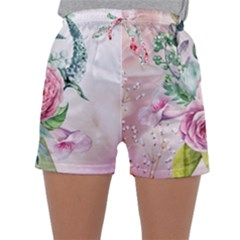 Flowers And Leaves In Soft Purple Colors Sleepwear Shorts by FantasyWorld7
