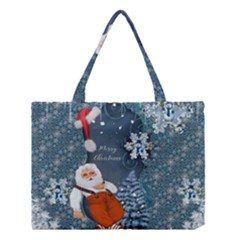 Funny Santa Claus With Snowman Medium Tote Bag by FantasyWorld7