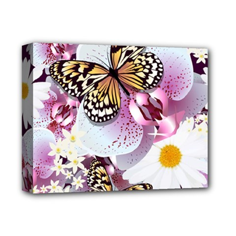 Butterflies With White And Purple Flowers  Deluxe Canvas 14  X 11  by allthingseveryday