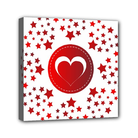 Monogram Heart Pattern Love Red Mini Canvas 6  X 6  by Celenk
