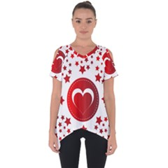 Monogram Heart Pattern Love Red Cut Out Side Drop Tee