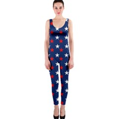 Patriotic Red White Blue Stars Blue Background Onepiece Catsuit by Celenk