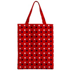 Patriotic Red White Blue Usa Zipper Classic Tote Bag by Celenk