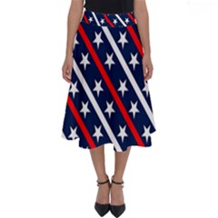 Patriotic Red White Blue Stars Perfect Length Midi Skirt
