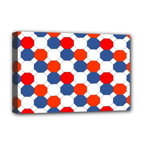Geometric Design Red White Blue Deluxe Canvas 18  X 12   by Celenk