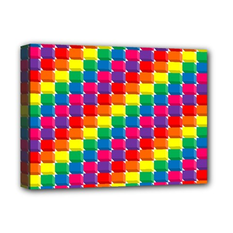 Rainbow 3d Cubes Red Orange Deluxe Canvas 16  X 12   by Celenk