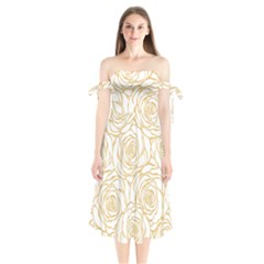 Yellow Peonies Shoulder Tie Bardot Midi Dress by 8fugoso