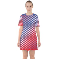 Dots Red White Blue Gradient Sixties Short Sleeve Mini Dress