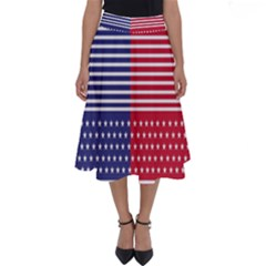 American Flag Patriot Red White Perfect Length Midi Skirt