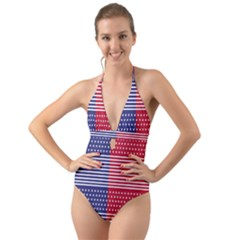 American Flag Patriot Red White Halter Cut Out One Piece Swimsuit by Celenk