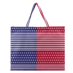 American Flag Patriot Red White Zipper Large Tote Bag by Celenk