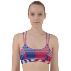 American Flag Patriot Red White Line Them Up Sports Bra