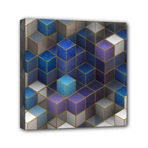 Cube Cubic Design 3d Shape Square Mini Canvas 6  X 6  by Celenk