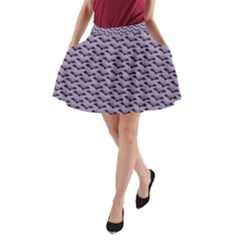 Bat Halloween Lilac Paper Pattern A Line Pocket Skirt by Celenk