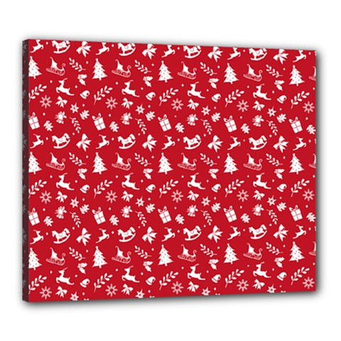 Red Christmas Pattern Canvas 24  X 20  by patternstudio