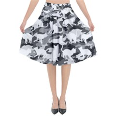 Black And White Catmouflage Camouflage Flared Midi Skirt by PodArtist