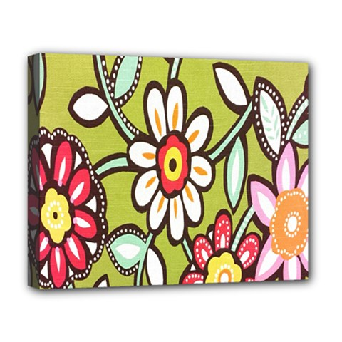 Flowers Fabrics Floral Design Deluxe Canvas 20  X 16   by Celenk