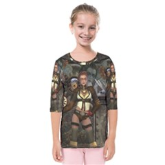 Steampunk, Steampunk Women With Clocks And Gears Kids  Quarter Sleeve Raglan Tee by FantasyWorld7