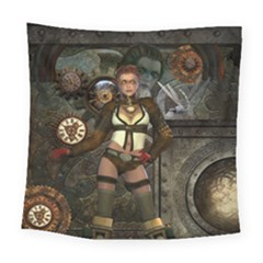 Steampunk, Steampunk Women With Clocks And Gears Square Tapestry (large) by FantasyWorld7