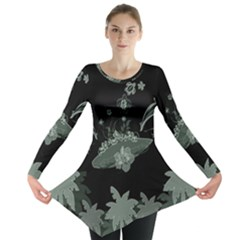 Surfboard With Dolphin, Flowers, Palm And Turtle Long Sleeve Tunic  by FantasyWorld7