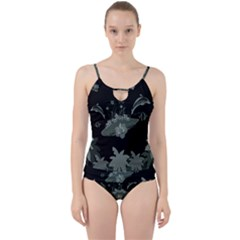 Surfboard With Dolphin, Flowers, Palm And Turtle Cut Out Top Tankini Set