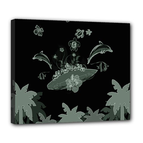 Surfboard With Dolphin, Flowers, Palm And Turtle Deluxe Canvas 24  X 20   by FantasyWorld7