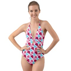 Bold Valentine Heart Halter Cut Out One Piece Swimsuit
