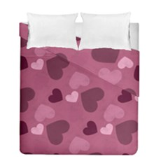 Mauve Valentine Heart Pattern Duvet Cover Double Side (full/ Double Size) by allthingseveryday