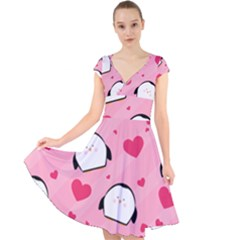 Penguin Love Pattern Cap Sleeve Front Wrap Midi Dress by allthingseveryday