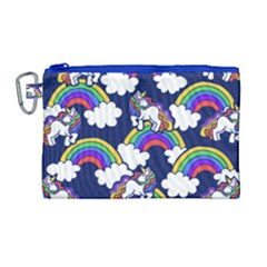 Rainbow Unicorns Canvas Cosmetic Bag (large) by BubbSnugg