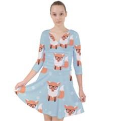 Cute Fox Pattern Quarter Sleeve Front Wrap Dress