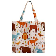 Woodland Friends Pattern Zipper Grocery Tote Bag by allthingseveryday