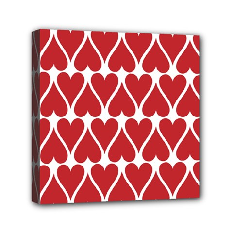 Hearts Pattern Seamless Red Love Mini Canvas 6  X 6  by Celenk